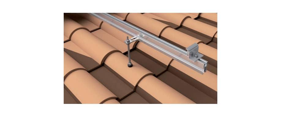Detalle Estructura Cubierta Tejas 1 Panel Solar con varilla