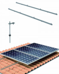 Estructura Cubierta Tejas 8 Paneles Solares con varilla