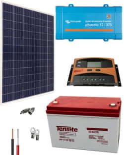Kit Panel Solar 300W 12V 1000Whdia  con batería AGM