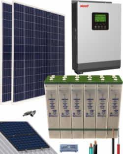 Kit Solar Aislada 1000W 12V 2000Whdia  con batería TOPzS