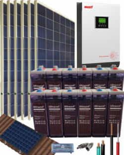 Kit Solar Aislada 3000W 24V 8100Whdia con batería OPzS