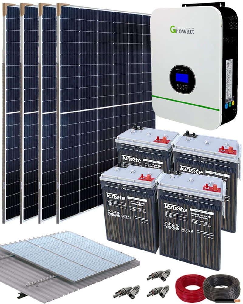Kit Solar Aislada 3000W 24V 9000Whdia con batería OPzS