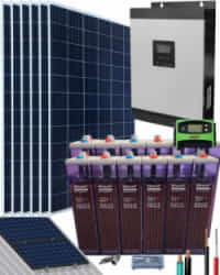 Kit Solar Aislada 3000W 24V 9600Whdia con batería OPzS