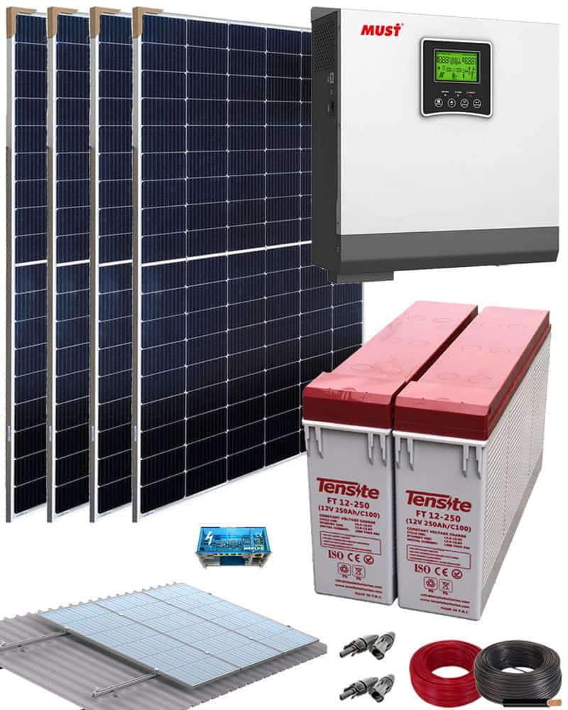 Kit solar casa campo 3000w 24v 6400whdia al mejor precio - Casas con placas solares ...