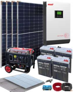 Kit Solar Completo 3000W 24V 9600Whdia con generador