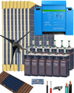 Kit Solar Eólico 3000W 24V 10800Whdia con batería OPzS