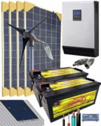Kit Solar Eólico 3000W 24V 6400Whdia