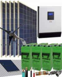 Kit Solar Eólico 3000W 24V 7800Whdia  con batería AGM