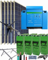 Kit Solar Eólico 3000W 24V 7800Whdia  con inversor Victron