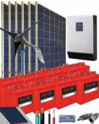 Kit Solar Eólico 5000W 48V 13500Whdia