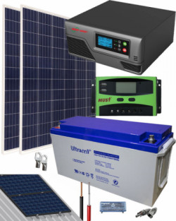 Kit Solar Fotovoltaico 600W 12V 2000Whdia  con Batería de Gel
