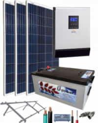 Kit Solar Fotovoltaico Aislada 1000W 12V 2250Whdia