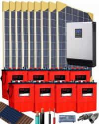 Kit Solar Vivienda Aislada 5000W 48V 12200Whdia
